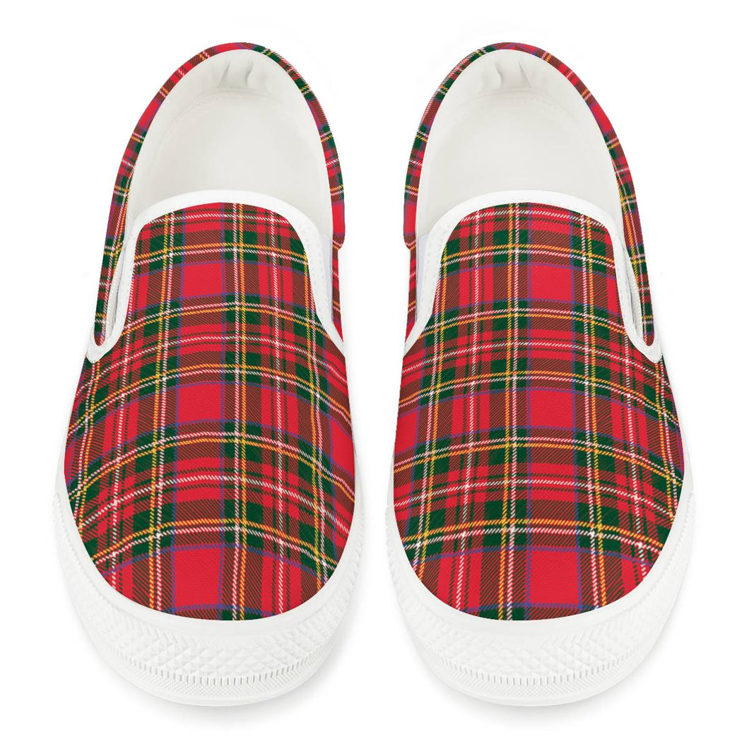 Red Plaid - White Slip On Shoes