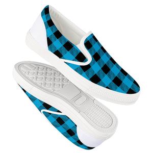 Blue Plaid - White Slip On Shoes