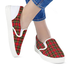 Load image into Gallery viewer, Red Plaid - White Slip On Shoes