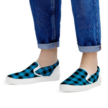Load image into Gallery viewer, Blue Plaid - White Slip On Shoes