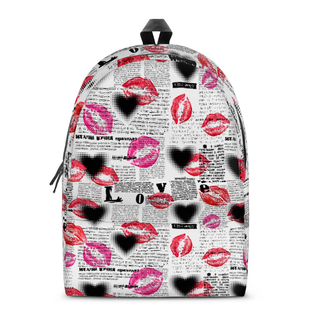 Lips All Over Print Cotton Backpack