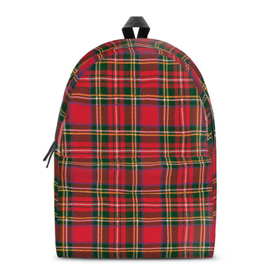 Red Plaid - All Over Print Cotton Backpack