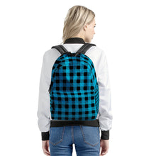 Load image into Gallery viewer, Blue Plaid - All Over Print Cotton Backpack