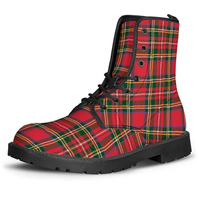 Red Plaid - Leather Boots