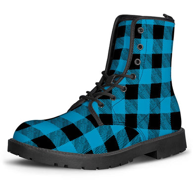 Blue Plaid - Leather Boots