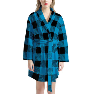 Blue Plaid - Women's Bathrobe