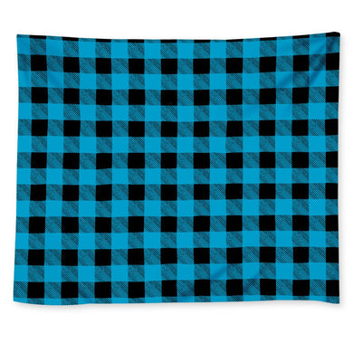 Blue Plaid - Wall Tapestry