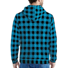 Load image into Gallery viewer, Blue Plaid - Men's All Over Print Hoodie