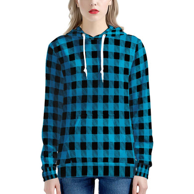 Blue Plaid - Women's All Over Print Hoodie