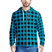 Load image into Gallery viewer, Blue Plaid - Men's All Over Print Zip Hoodie