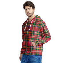 Load image into Gallery viewer, Red Plaid - Men's All Over Print Zip Hoodie