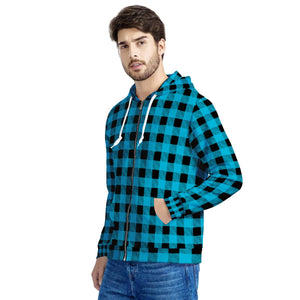 Blue Plaid - Men's All Over Print Zip Hoodie