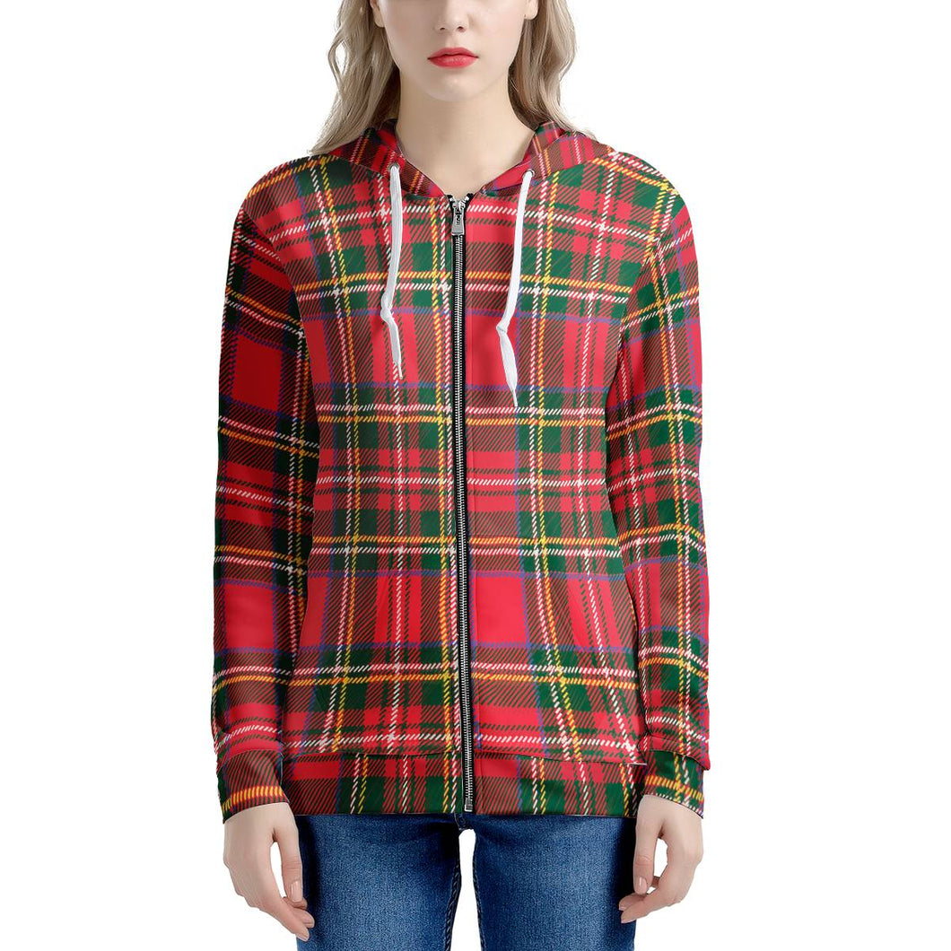 Red Plaid - Women's All Over Print Zip Hoodie