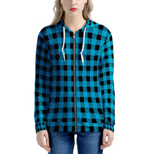 Load image into Gallery viewer, Blue Plaid - Women's All Over Print Zip Hoodie