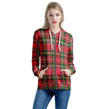 Load image into Gallery viewer, Red Plaid - Women's All Over Print Zip Hoodie