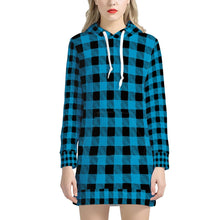 Load image into Gallery viewer, Blue Plaid - Women's Hoodie Dress
