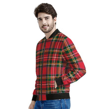 Load image into Gallery viewer, Red Plaid - Men's Bomber Jacket