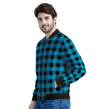 Load image into Gallery viewer, Blue Plaid - Men's Bomber Jacket