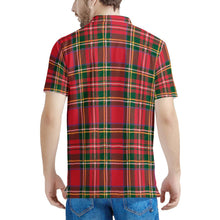 Load image into Gallery viewer, Red Plaid - Men's All Over Print Polo Shirt