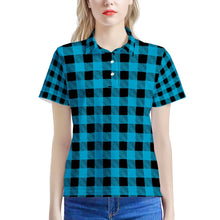 Load image into Gallery viewer, Blue Plaid - Women's All Over Print Polo Shirt