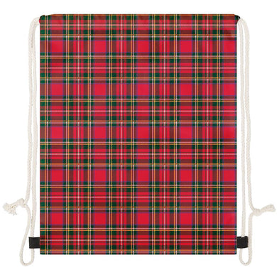 Red Plaid - Drawstring Bags