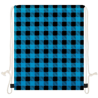 Blue Plaid - Drawstring Bags