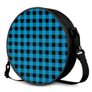 Blue Plaid - Round Satchel Bags
