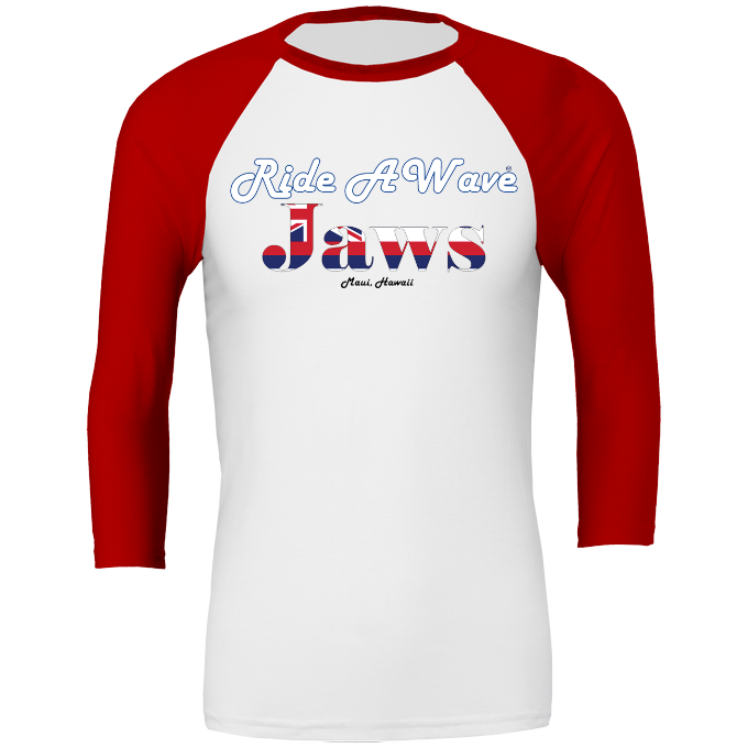 Ride a Wave: Jaws 3/4 sleeve Baseball Top