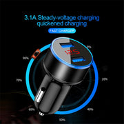 3.1A LED Display Dual USB Car Charger