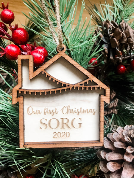 Our 1st Christmas Engraved Personalized ornament 2 styles