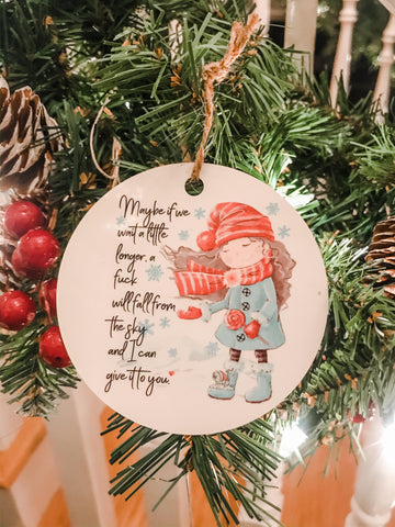 Adult Humor I don't give a F Christmas Ornament
