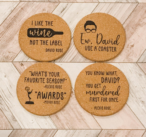 Schitts Creek Cork Coasters Choose from 12 Sayings