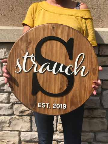 Round Circle Wood Last Name Sign Choose Size