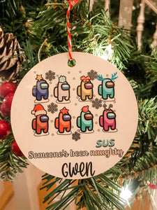 Someone's Been Naughty --SUS Among Us Personalized Ornament