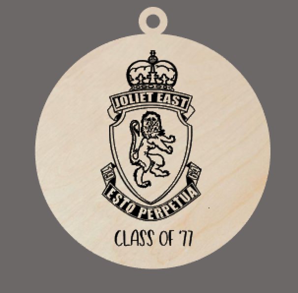 Joliet East Pick your graduating class!   Engraved Wood Ornament custom class of keepsake