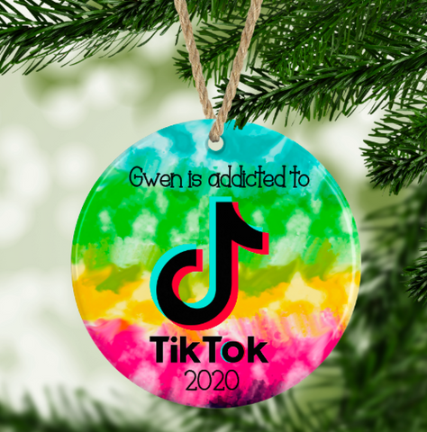 Personalized Addicted To TikTok  Ornament