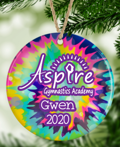 Aspire Tie Dye Personalized 2020 Logo Ornament
