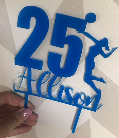 Volleyball Girl Sports  Acrylic Cake Topper