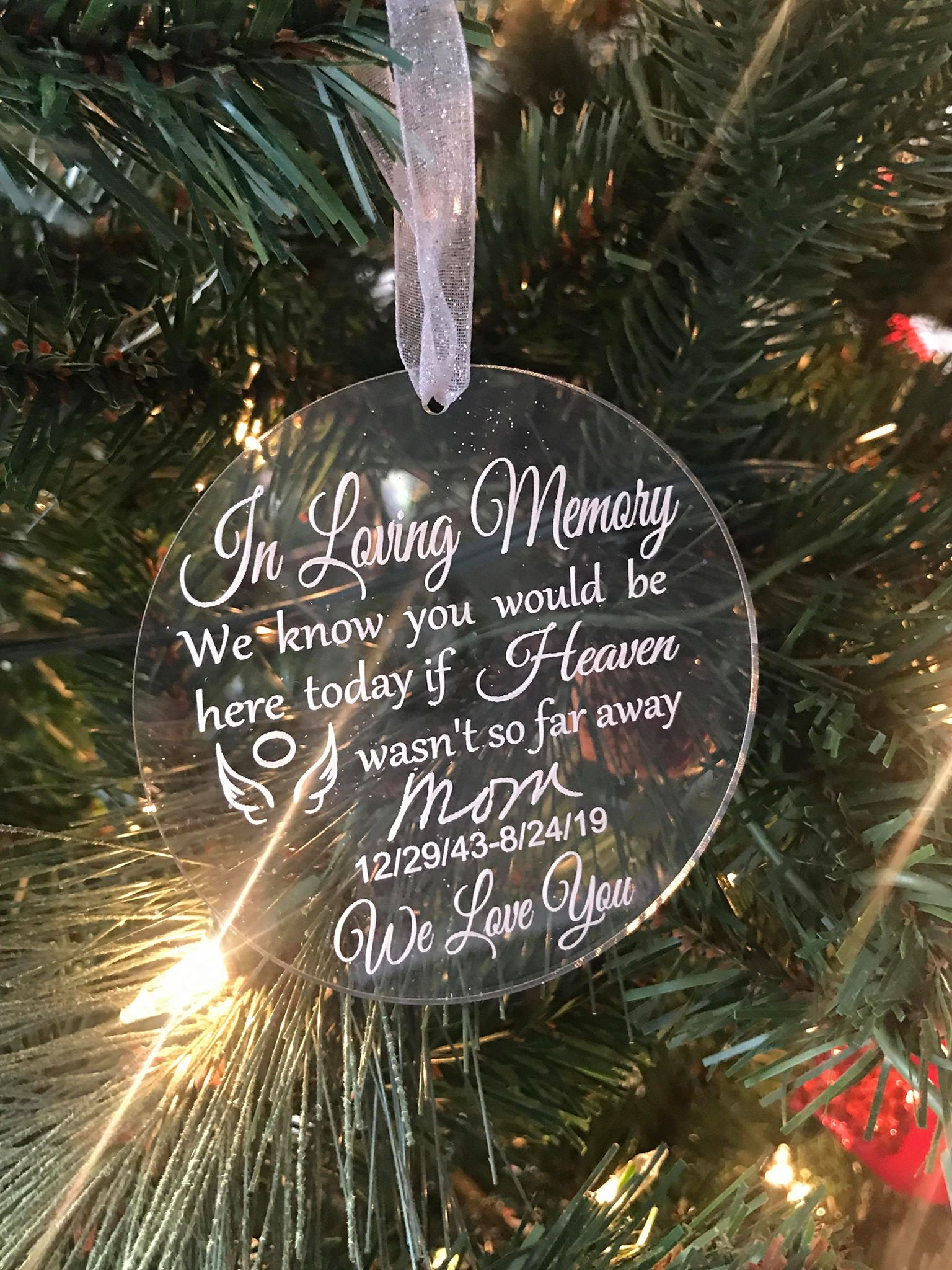 In Loving Memory with handwriting acrylic ornament