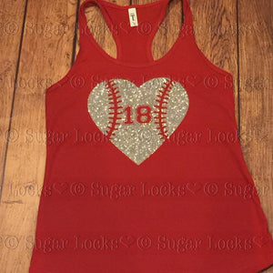 Baseball Heart Number Tank Top Custom Colors