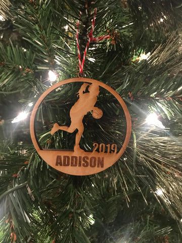 Basketball girl custom personalize wood laser cut ornament