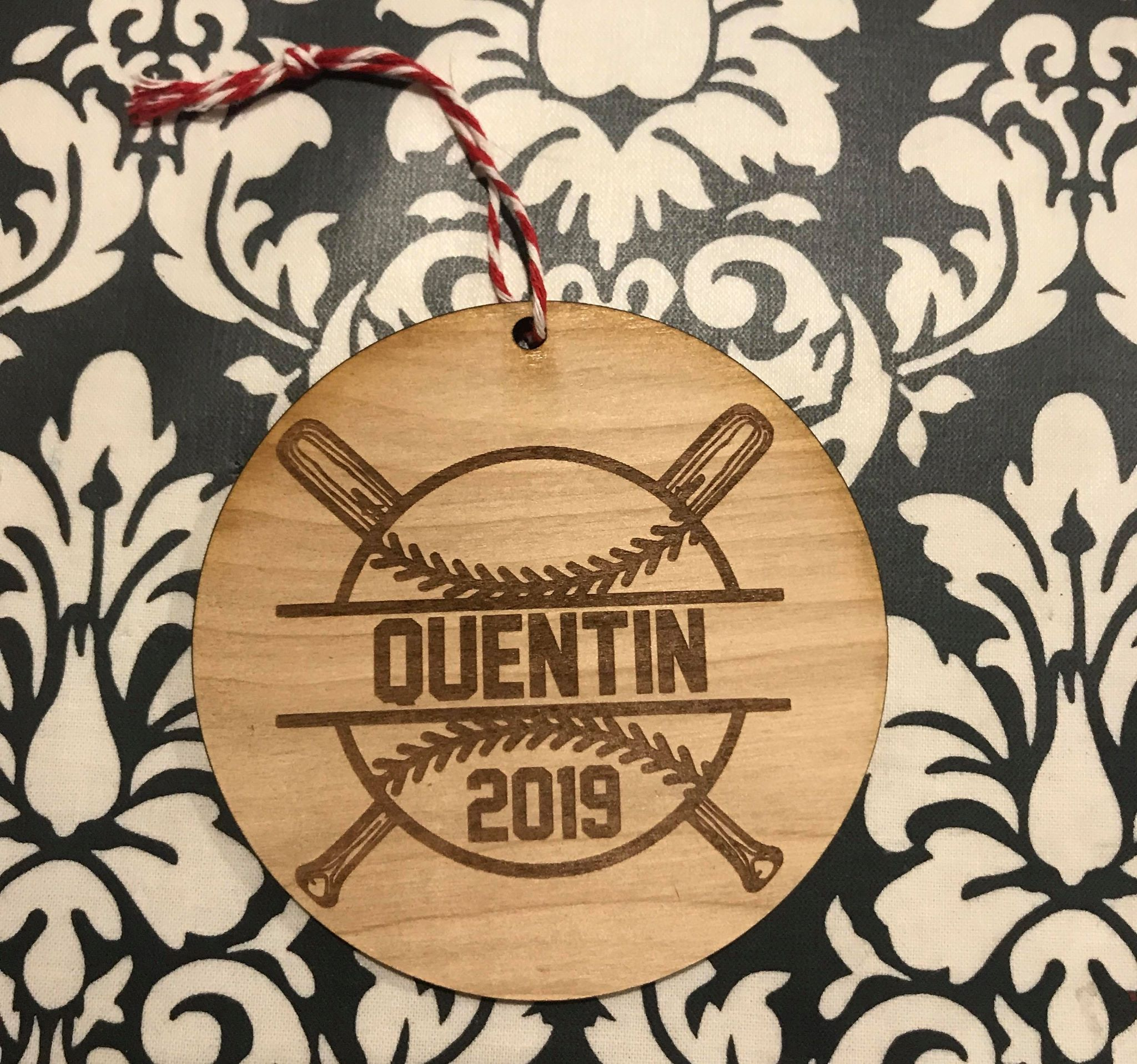 Engraved Baseball custom personalize wood laser cut ornament