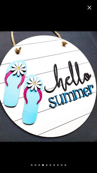 DIY Paint Kit Door Sign Hello Summer Round