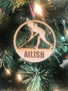 Field Hockey Girl custom personalize wood laser cut ornament