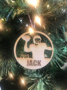 Football 1 custom personalize wood laser cut ornament