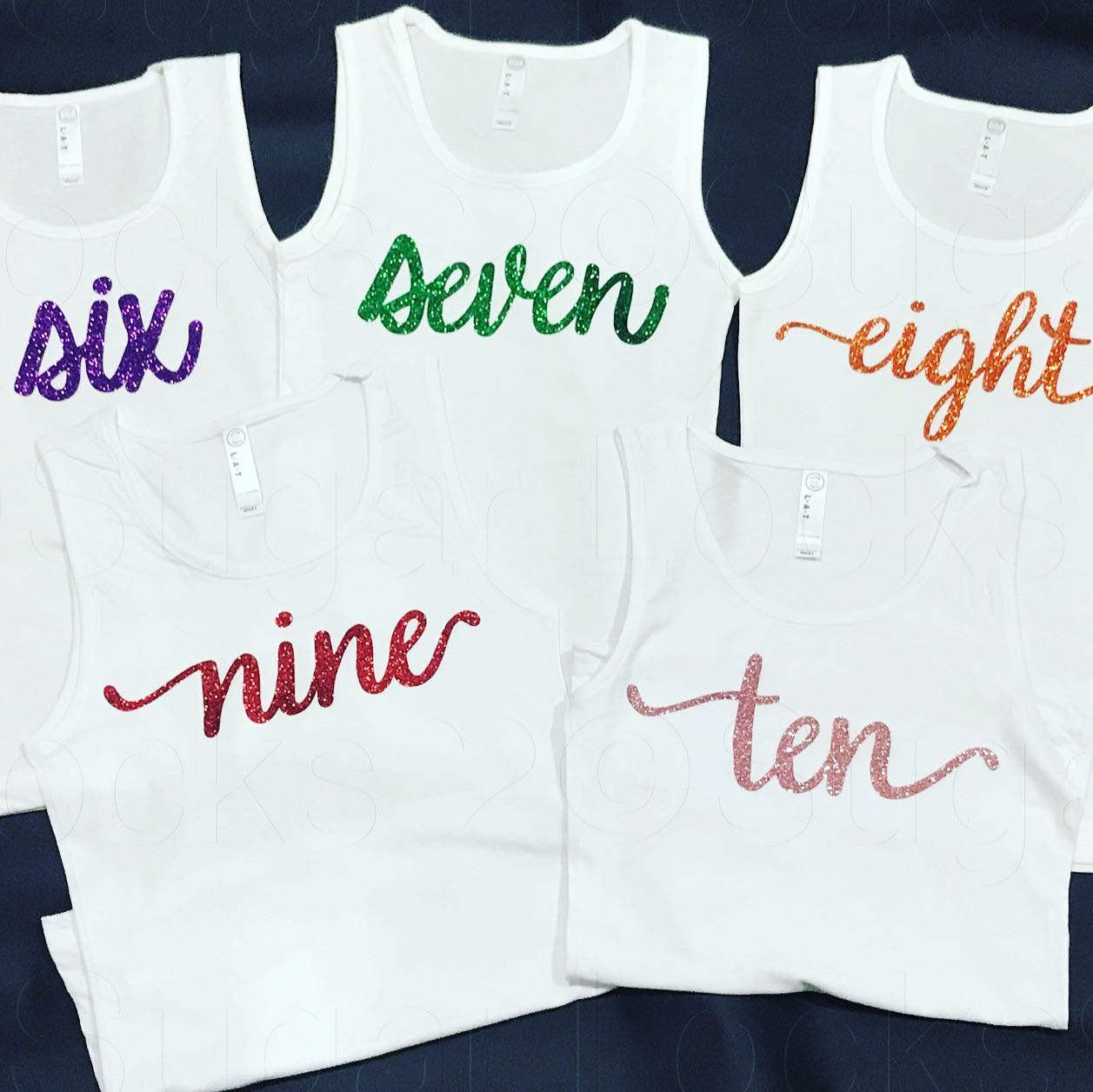 Birthday number glitter *WHITE*  tank top