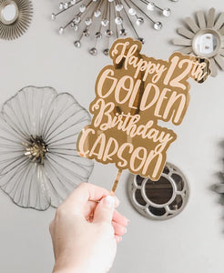 Golden Birthday Personalized Gold Acrylic Cake Topper