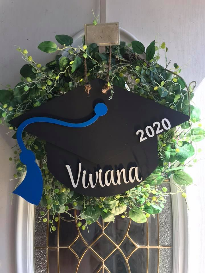 Graduation Hat Wood Door Sign Custom Colors and Personalize