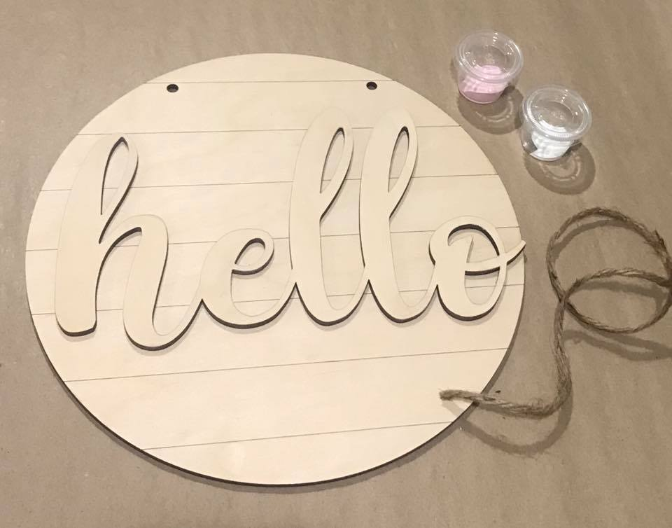 DIY Paint Kit Door Sign HELLO