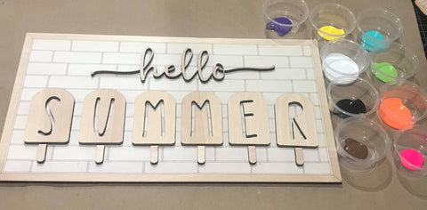 Hello Summer Popsicle DIY Paint Kit Rectangle sign